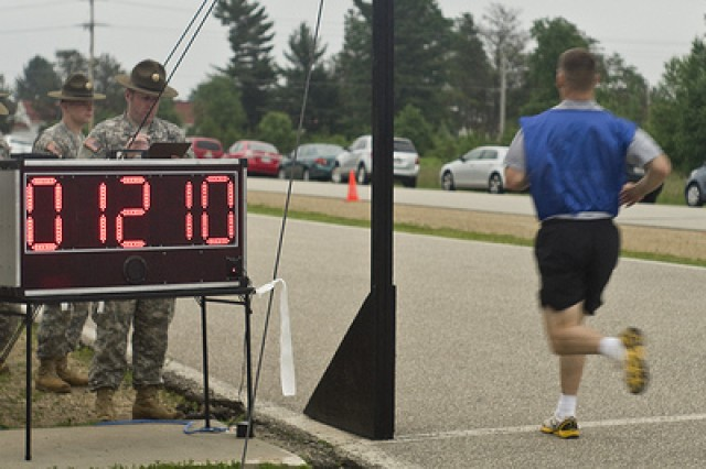 Spc. Wade Saunders was the first to complete the 2-mile portion of the APFT at the 2011 United States Army Reserve Command Best Warrior Competition at Ft. McCoy, Wis.