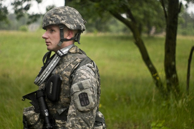 Staff Sgt. Matthew Easley of the 807th Medical Deployment Support Command out of Fort Douglas, Ut., was the first Warrior to complete the land-nav course at the 2011 United States Army Reserve Command Best Warrior Competition at Ft. McCoy, Wis., on June 21.