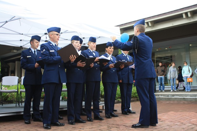 MONTEREY, Calif. - The United States Air Force Choir from the Defense Language Institute Foreign Language Center performs before the crowd attending Military Appreciation Day at Del Monte Shopping Center June 4.