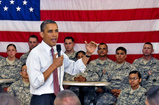 President Barack Obama speaks to about 150 Soldiers during his first official visit to Fort Drum, N.Y., June 23, 2011. The president thanked the Soldiers, among the first to deploy to Afghanistan following the terrorist attacks of Sept. 11, 2001, one day after announcing a drawdown of troops from Afghanistan during a televised address to the nation. The Soldiers are assigned to the 10th Mountain Division's 1st Brigade Combat Team.
