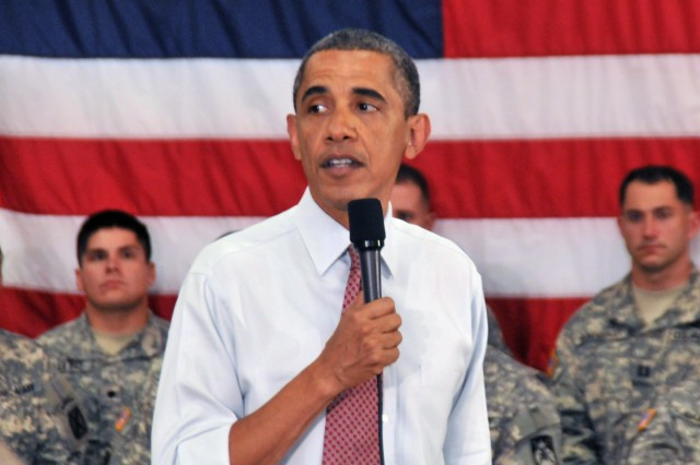 During his first official visit to Fort Drum, President Barack Obama spoke Thursday to roughly 150 Soldiers of 1st Brigade Combat Team, 10th Mountain Division (LI), thanking them for their service one day after announcing a drawdown of troops from Afghanistan. Elements of the brigade were among the first to deploy to Afghanistan following the terrorist attacks of Sept. 11, 2001.