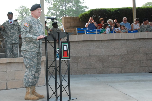 Maj. Gen. Kevin R. Wendel, addresses the assembly during the 188th Infantry Brigade's change of command ceremony at 3rd Infantry Division's Marne Garden on Fort Stewart, Ga. June 22, 2011.