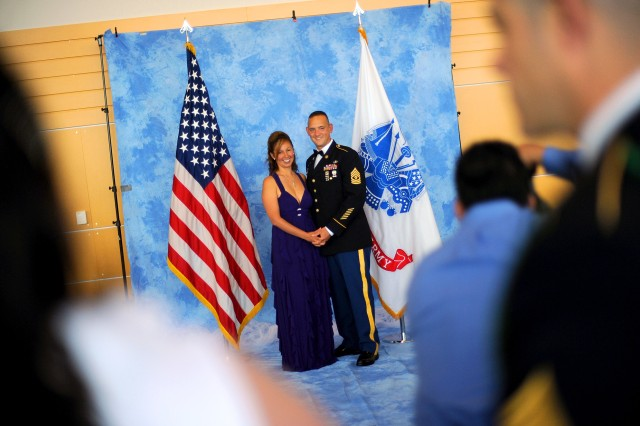 """1st Sgt. Donald Smith and his wife Samantha pose for a formal portrait during 236th Army Birthday """"Profession of Arms"""" Ball June 16 in Tacoma."""