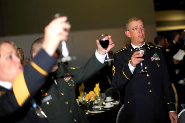 """Soldiers toast the Army during the 236th Army Birthday """"Profession of Arms."""""""
