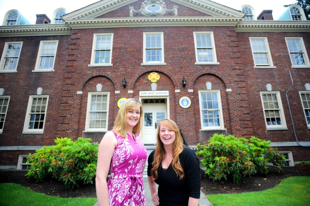 Melissa Richardson, left, and Kimberly Willard are IMCOM Fellows learning the ins and outs of JBLM Garrison processes.  Willard works for the Plans, Analysis and Integration Office and Richardson works for the Resource Management Office. Both are slated to complete their fellowships in 2013.