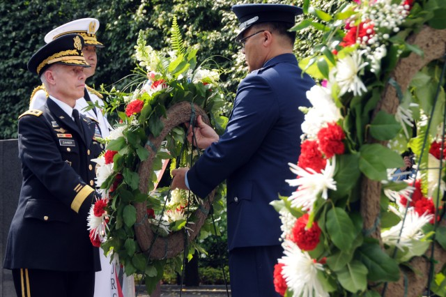 Lt. Gen. Richard P. Zahner, deputy chief of staff, G-2 and Brig. Gen. Lee, of the Korean military, lay a wreath together, June 24 at the Korean War Veterans Memorial in Washington, D.C.