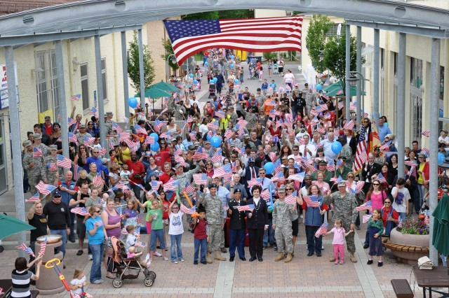 Soldiers, Families and Civilians of U.S. Army Garrison Ansbach, Germany gathered at the Storck Barracks, Illesheim pedestrian zone to celebrate the Army's 236th Birthday.