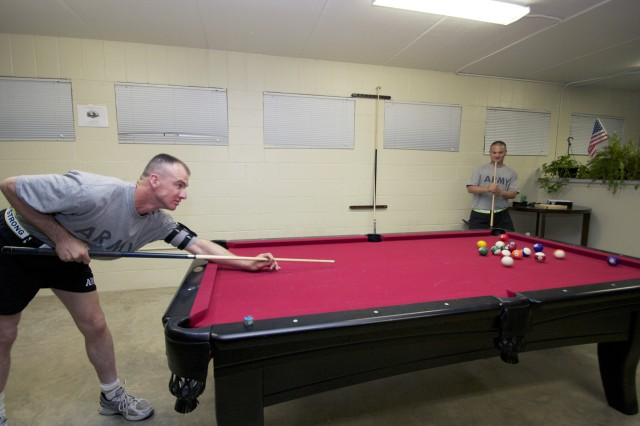 The North Fort Hood USO Center has two pool tables for Soldiers to play at no charge. The center is one of the only places for Soldiers to relax and gather on the post's north side.