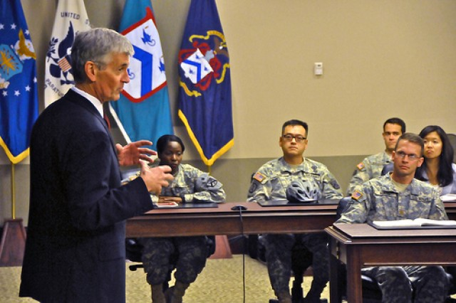 Secretary of the Army John McHugh discusses Army topics with students from the Army's School of Advanced Military Studies, Command and General Staff School, and Army Management Staff College at Fort Leavenworth, Kan., June 24, 2011.
