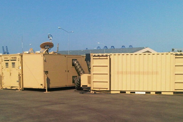 Shown here, the Deployable Port Operations Center, or DPOC, is a fully deployable operations center housed in an expandable shelter and equipped with the necessary communication systems to support extended strategic port manager missions in a major regional conflict or exercise.