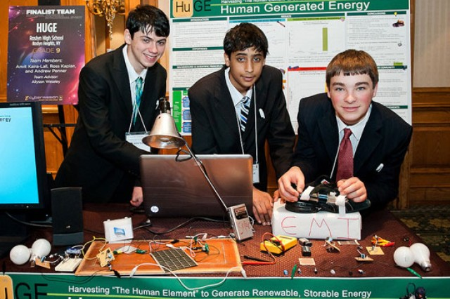 """HUGE"" from Roslyn High School; Roslyn Heights, N.Y., consists of Anvit Kalra-Lall, Ross Kaplan and Andrew Penner.  They researched how to capture kinetic energy generated by walking, creating wearable devices that could be fastened to a shoe to capture and store energy."