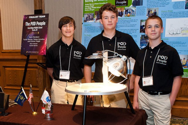 """The POD People"" from Fern Ridge Middle School; Veneta, Ore.,  are Tucker Barnes, Tristan Cornelius and Connor Magid.  They researched the use of Stirling engines as an alternate source of fuel, studying how a design built around its premise can be used to power homes."