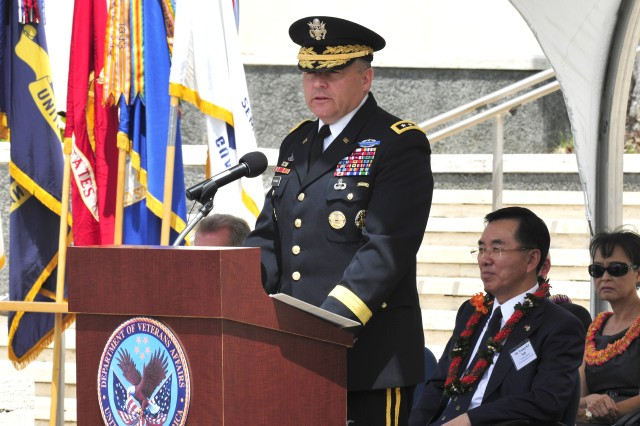 Lt. Gen. Francis Wiercinski, U.S. Army Pacific commander, was the keynote speaker at a crowd of roughly 300 veterans and the public Saturday at the Korean War Memorial Ceremony held at the National Memorial Cemetery of the Pacific. The ceremony honored veterans who fought in the war.