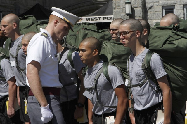 Led by a cadet cadre from the Class of 2012 and Class of 2013, the new cadets receive training on their first day in preparation to march onto the parade field for the first time at West Point as the culminating event on Reception Day.