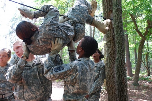 Army Junior ROTC Cadets learn the importance of trusting in their teammates and building confidence in one another during the ropes course training held June 26 at the 2011 JCLC Mountain, Fort AP Hill, Va.