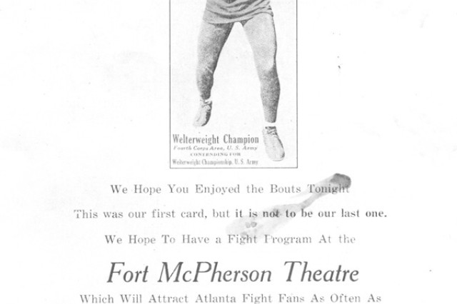 Today the Fort McPherson Post Theater hosts special events and free movie Fridays, but at one point in the past, it also hosted boxing matches as shown by this old poster from the 1930s.