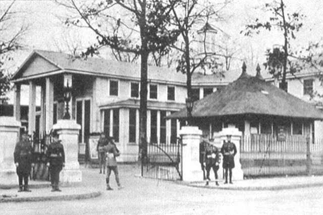 During World War I, the post entrance was located on Lee Street, near the Garrison Chapel Office is today.