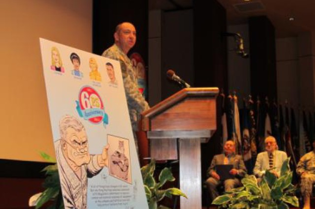 "Logistics Support Activity commander Col. Robert ""Pat"" Sullivan speaks during Monday's anniversary ceremony for PS Magazine. U.S. Army Photo by: Skip Vaughn, AMCOM/Garrison Public and Congressional Affairs."