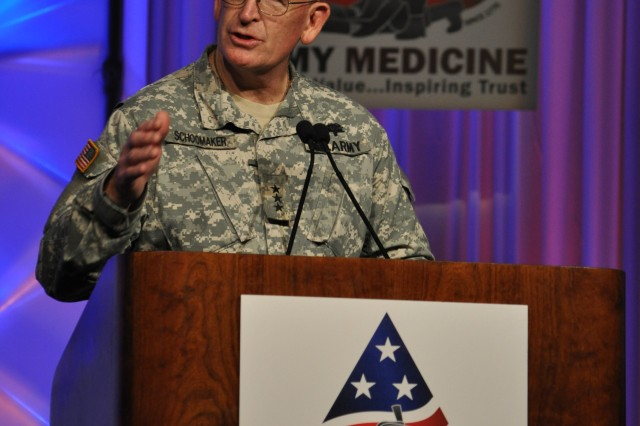 Lt. Gen. Eric Schoomaker, Army surgeon general, address attendees at the Army Medical Command's Training Symposium, held in San Antonio, June 27-29, 2011.