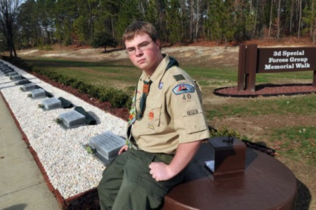 Jacob Netzel at the completed 3rd Special Forces Group Memorial Walk.