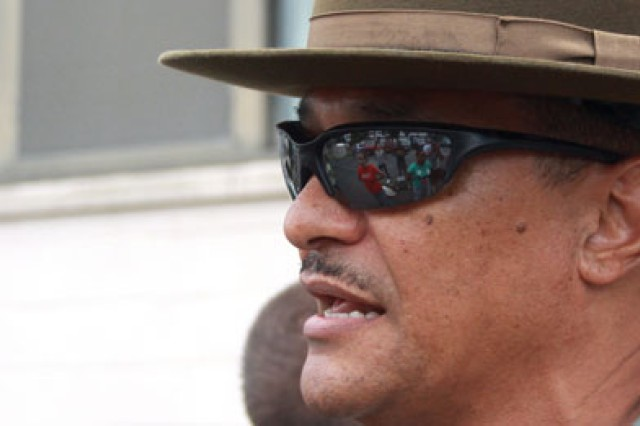 Cadets reporting for training last summer at the Leader's Training Course are reflected in the sunglasses of an awaiting drill sergeant.