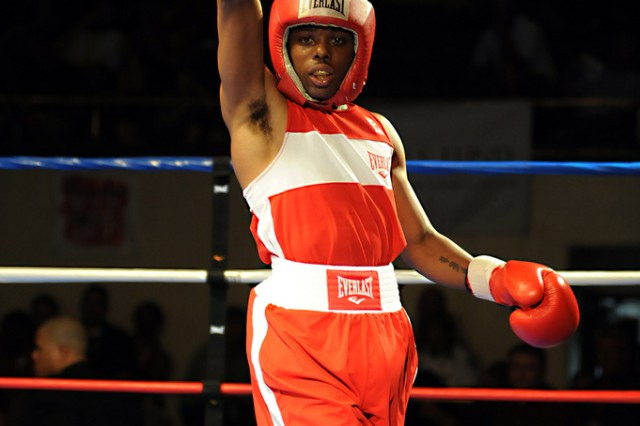 Sgt. John Franklin of the U.S. Army World Class Athlete Program celebrates winning the 114-pound division of the 2011 USA National Boxing Championships on Saturday night at Colorado Springs City Auditorium. Franklin prevailed with a 13-10 decision over Oscar Cantu.