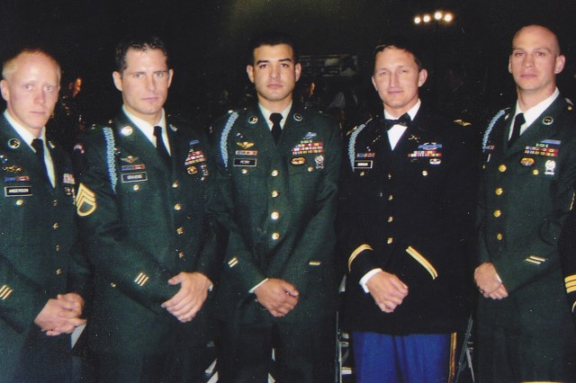 Sgt. Anderson, Staff Sgt. Gravens, Sgt. Petry, Cpt. Gordon, Staff Sgt. Sheldon at the 2005 Ranger Ball.