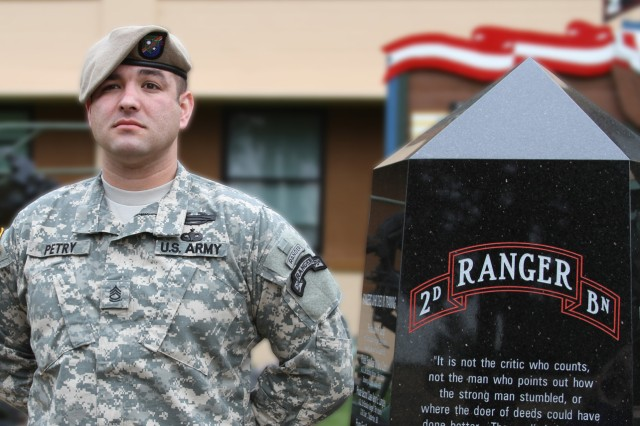 Sgt. 1st Class Petry in front of the 2nd Ranger Battalion building in March, 2010.