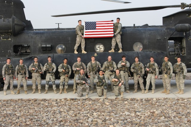 The 2nd Ranger Battalion during the 2008 deployment to Afghanistan. (Staff Sgt. Petry 2nd row, 3rd from left)