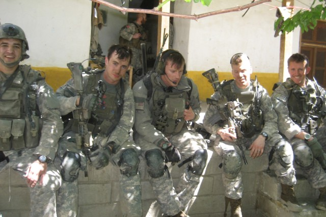 (Left to right) Staff Sgt. Petry, Staff Sgt. Milosevic, Staff Sgt. Bajuk, Sgt. 1st Class Staidle, Capt. Kyle Packard, during the 2008 deployment to Afghanistan.