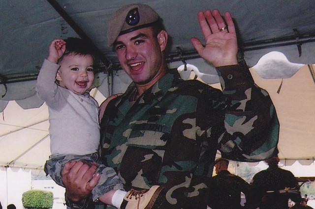 Spc. Petry and son during the 2004 2/75th Ranger Family Day event.
