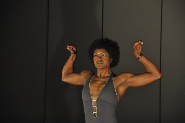 Nicole Miles won the female heavyweight bodybuilding category in Saturday's Natural Bodybuilding and Fitness Competition.