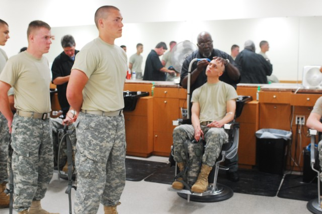 "Future 19D Cavalry Scout Soldiers inprocess at Fort Benning's Reception Battalion prior to heading ""downrange"" to Armor One Station Unit Training at Harmony Church on Fort Benning, Ga., June 20, 2011."