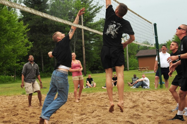 Soldiers from 1st Brigade Combat Team's 1st Battalion, 87th Infantry Regiment compete in the volleyball tournament June 22 as a part of the Mountainfest's sporting competitions.