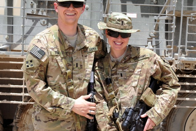 U.S. Army 1st Lt. Aaron Frazier and his wife, 1st Lt. Heather Frazier. Both personnel officers are assigned to the 1st Stryker Brigade Combat Team, 25th Infantry Division, based out of Fort Wainwright, Alaska. The married couple is deployed together in southern Afghanistan.