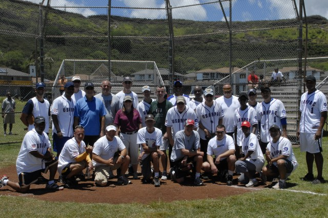 The Colonels and Sergeant Majors took time for a group photo after a very challenging softball game during One Team Week, June 30.