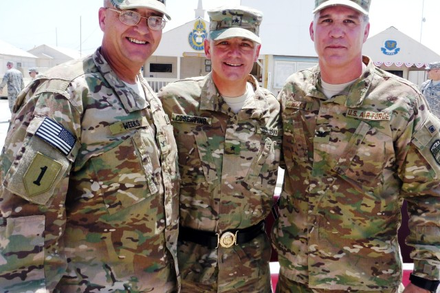 Shown, from left, are Col. Arthur Weeks III, incoming RSC-Capital commander, Brig. Gen. Tom Cosentino, DCOM-Regional Support, and Air Force Col. Bob Wicks Jr., outgoing commander, immediately after the change of command ceremony. (Photo by Jon Connor)