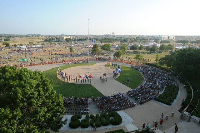 Lt. Gen. Don Campbell Jr., III Corps and Fort Hood commanding general, addresses the crowd gathered for a Salute to the Nation ceremony outside of III Corps Headquarters July 4, 2011. Thousands came to Fort Hood, Texas, to celebrate Independence Day during Freedom Fest 2011.