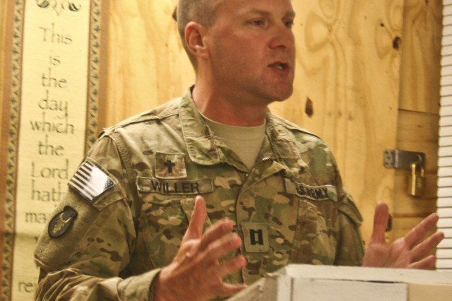 U.S. Army Chaplain (Capt.) Michael Willer, from Webster City, Iowa, the battalion chaplain for 1st Battalion, 133rd Infantry Regiment, Task Force Ironman, part of the Iowa National Guard's 2nd Brigade Combat Team, 34th Infantry Division, TF Red Bulls, delivers his final sermon of the deployment at the chapel June 26 on Forward Operating Base Mehtar Lam, Laghman Province, Afghanistan