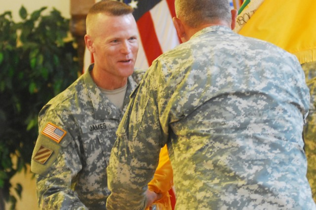 Col. Thomas James replaced Brig. Gen. Ted Martin as the commandant of the U.S. Army Armor School June 28 in a change of command ceremony at the Benning Conference Center.