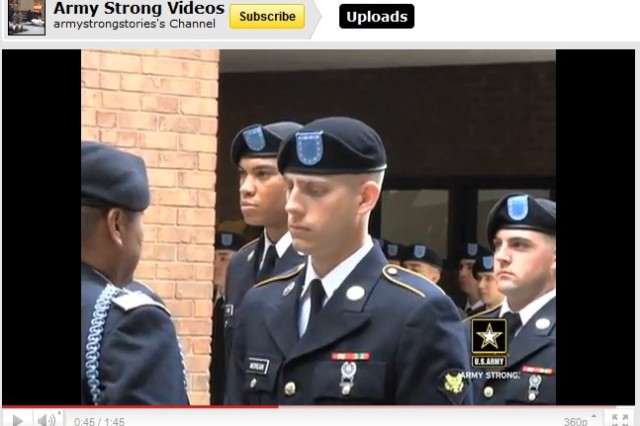 Drill Sergeant Levi Peffer explains the Turning Blue ceremony, a special event in which an infantryman earns his blue cord.
