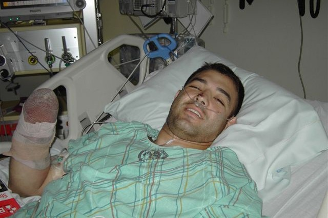 Staff Sgt. Petry in the Landstuhl Regional Medical Center in Lanstuhl, Germany, May 2008.