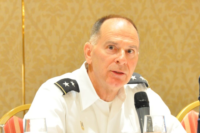 Major General William Enyart, the Adjutant General of Illinois, answers questions about the Illinois National Guard State Partnership Program with Poland at the United Nations Peace Operations and Law Symposium in Chicago on July 8, 2011.