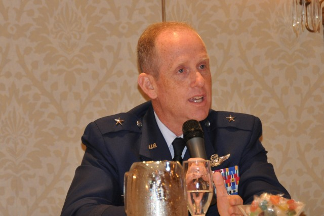 Brigadier General Donald Dunbar, the Adjutant General of Wisconsin, answers questions about the Wisconsin National Guard State Partnership Program with Nicaragua at the United Nations Peace Operations and Law Symposium in Chicago on July 8, 2011.