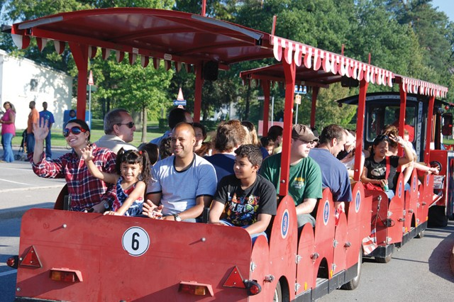 The traditional train transported community members around Patch Barracks during U.S. Army Garrison Stuttgart's July 4 celebration.