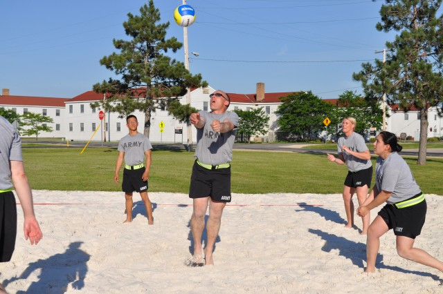 Sand volleyball courts at Fort McCoy created by Soldiers for Soldiers