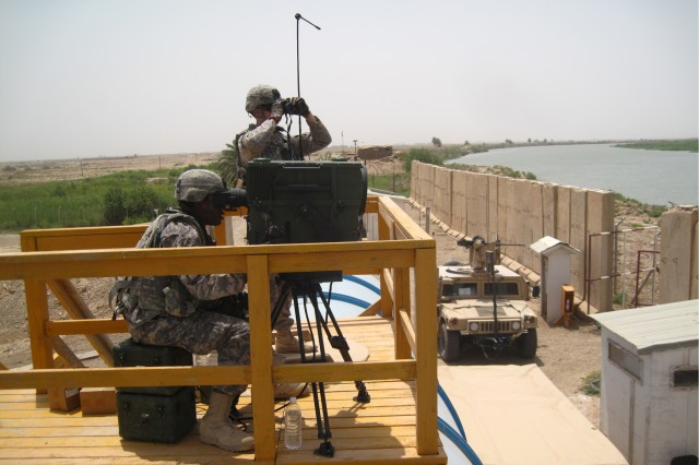 Soldiers from 1st Platoon, Bandit Troop, 6th 'Saber' Squadron, 9th Cavalry Regiment, 3rd Advise and Assist Brigade, 1st Cavalry Division, use a Long-Range Advance Scout Surveillance System to identify insurgents emplacing indirect fire assets on July 6, 2011, near Contingency Operating Base Delta, Iraq. Eliminating insurgents' ability to use indirect fire is a top priority for Saber Squadron, as it poses a great threat not only to U.S. Security Forces, but also the local population.