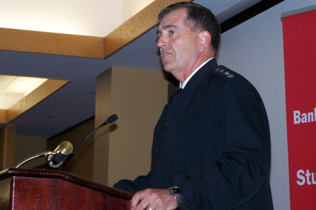 Vice Chief of Staff of the Army Gen. Peter. W. Chiarelli speaks to about 230 high school leaders at the Bank of America Student Leadership Conference about the leadership lessons he's learned in the Army at the Washington Navy Yard, July 12, 2011.