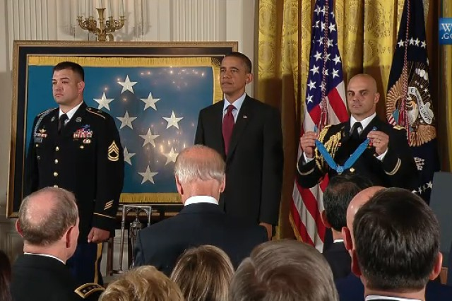 President Barack Obama presenting the Medal of Honor to Sgt. 1st Class Leroy A. Petry at the White House on July 12, 2011.