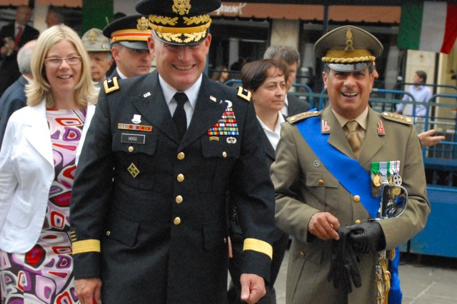 U.S. Army Africa Commander, Maj. Gen. David R. Hogg joins dignitaries from all parts of the Veneto Region to celebrate Italy's National Day June 2 in Vicenza, Italy. Col. Aldo Rando, Italian liaison to U.S. Army Garrison Vicenza, is at right.